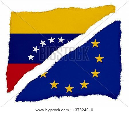 Venezuelan And Eu Flag Torn Paper Scraps Isolated On White Background