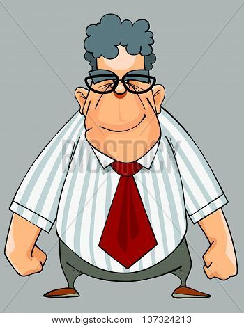 Cartoon smiling man in a shirt and a tie standing with his fists