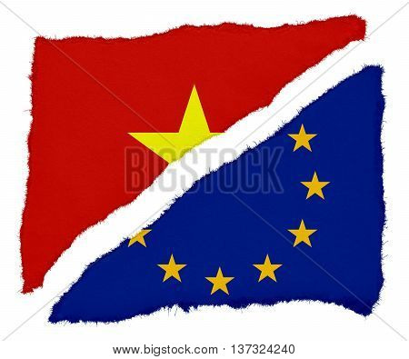 Vietnamese And Eu Flag Torn Paper Scraps Isolated On White Background