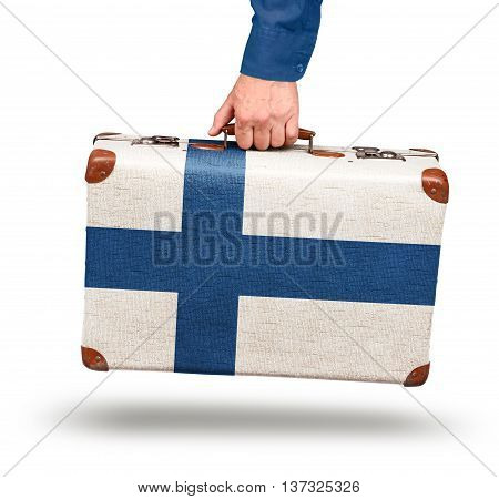 Vintage Finnish flag suitcase isolated on white visit Finland concept