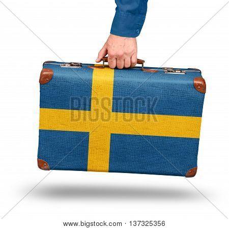 Vintage Swedish flag suitcase isolated on white visit Sweden concept