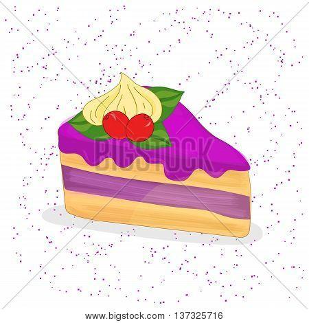 Piece of cake. Sweet dessert. Vector illustration.