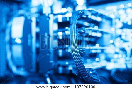 Horizontal blue gpu quad sli video card bokeh background