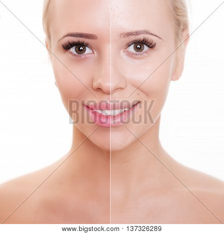 beautiful young woman on a white background, beauty concept.retouch before and after.face divided in two parts, poor condition the skin in good condition