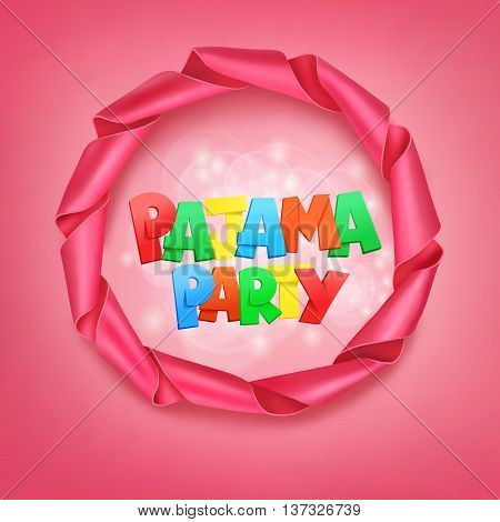 pajama party lettering with ribbon frame. Vector illustration