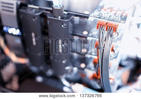 Horizontal gpu quad sli video card bokeh background