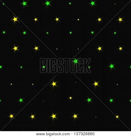 seamless pattern with yellow with green stars on black