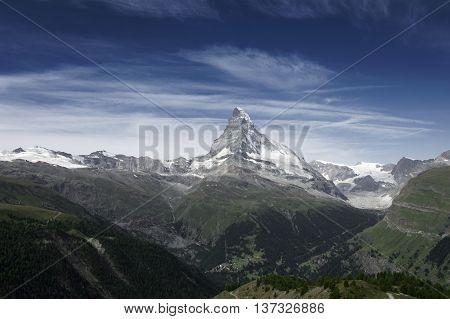 view of matterhorn from zermatt during summer