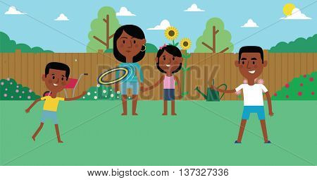 Illustration Of Family Playing With Frisbee In Garden