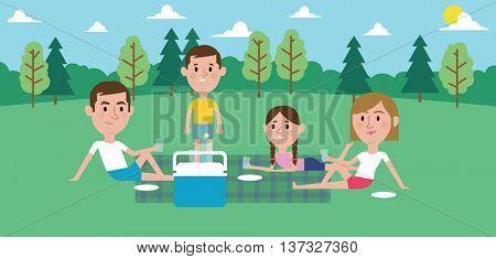 Illustration Of Family Enjoying Picnic In Park Together