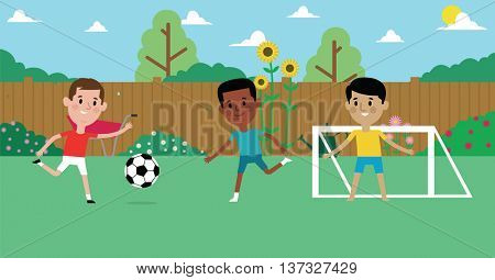 Illustration Of Boys Playing Soccer In Garden Together