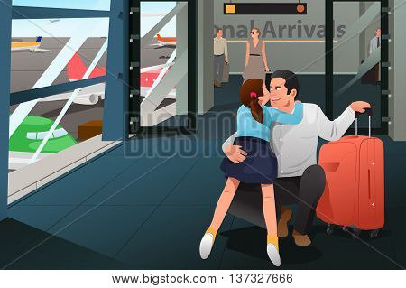 A vector illustration of daughter reunion with her father at airport