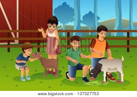 A vector illustration of happy kids petting animals together in a petting zoo