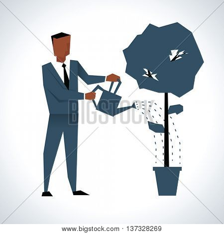 Illustration Of Businessman Watering Tree Growing In Pot