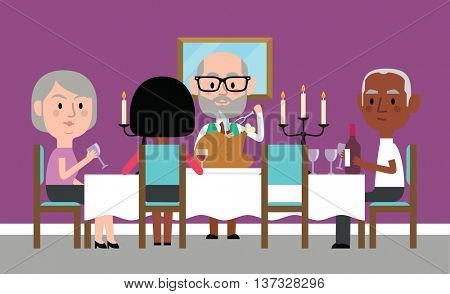 Illustration Of Senior Friends Having Dinner Party At Home