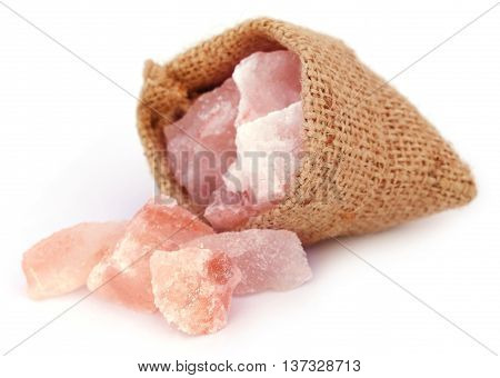 Saindhava lavana or Himalayan Pink rock salt over white background