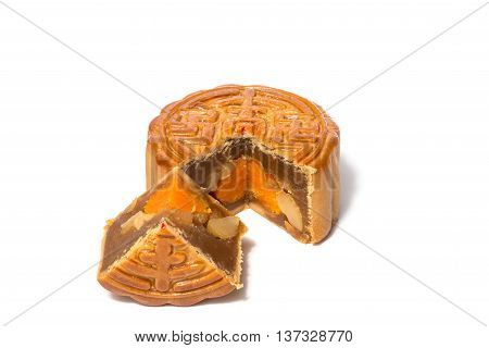 Mid-Autumn Festival slice mooncake isolated on white background