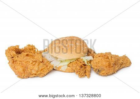 Calf chest fried chicken and Crisp chicken burger isolated on white background