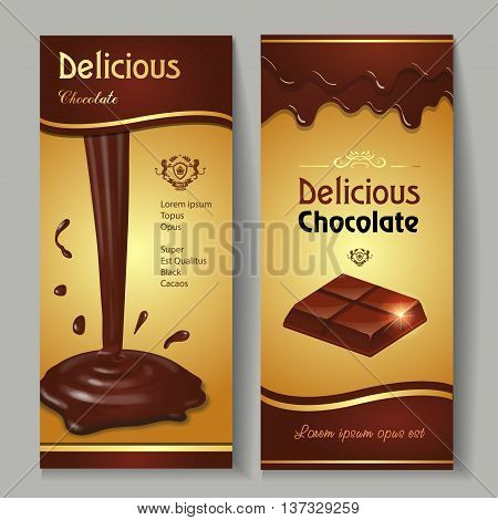 Delicious dark premium chocolate splashes and drops banners set realistic isolated vector illustration