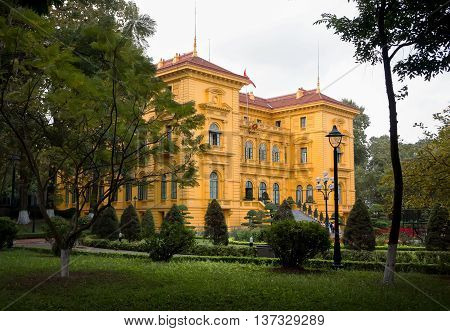 HA NOI, VIET NAM, May 23, 2016 monuments, government buildings Vietnam president, by the French architect building downtown ear, Ha Noi, Vietnam