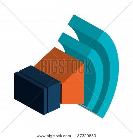 Bullhorn or megaphone with volume up 3d icon, vector illustration.
