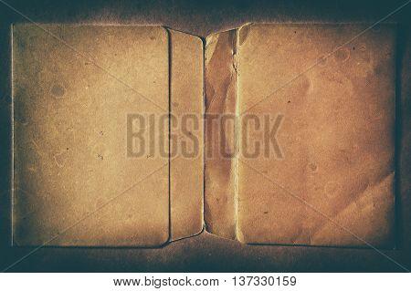 Horizontal vintage double page dirty empty floppy case backgrou