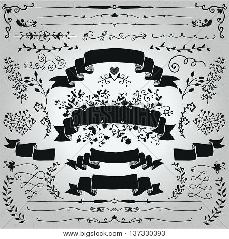 Collection of Hand Drawn Doodle Design Elements. Sketched Rustic Decorative Banners, Dividers, Ribbons Black Shapes, Floral Swirls and Branches. Vintage Vector Illustration.