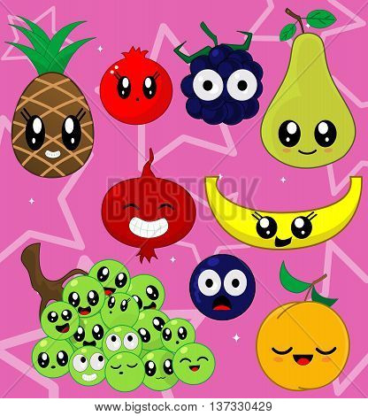 Vector illustration sticker set of cute cartoon fruit characters in kawaii style. Here are pineapple, grapes, cantaloupe, pomegranate, currant, blackberry, pear, peach. Second set