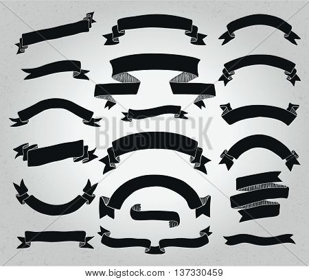 Collection of Hand Drawn Doodle Design Elements. Sketched Rustic Decorative Banners, Ribbons Black Shapes. Vintage Vector Illustration.