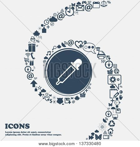 Pipette Sign Icon In The Center. Around The Many Beautiful Symbols Twisted In A Spiral. You Can Use