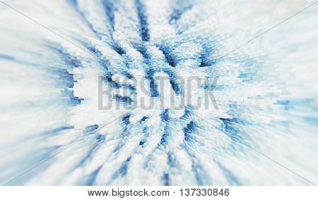 Horizontal pixel cube winter extruded and blurred map background