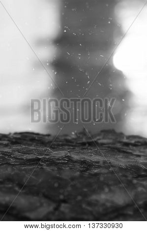 Virtical crust ground with falling ash snow bokeh background