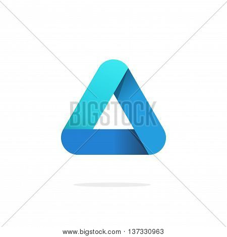 Triangle logo with rounded corners vector isolated on white background, blue gradient abstract triangle logotype element. elegant creative geometric figure