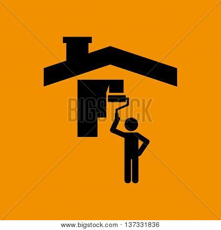 industry construction house, man working on it icon vector illustration