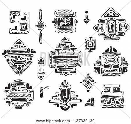 Vector collection of hand drawn ornament maya isolate on white background