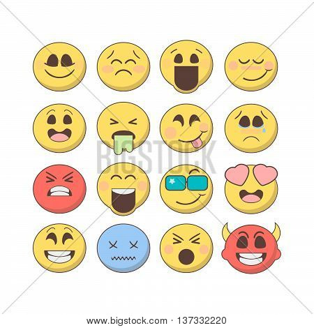 Set of emoticons emoji isolated on white background. Set of vector emoji in flat style. Smiley emoticons collection. Emoticons for web mobile chat print and games.
