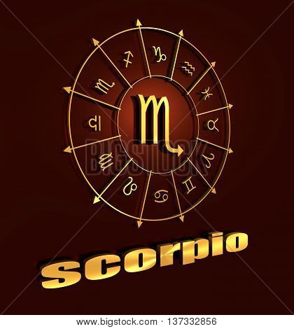 Scorpion astrology sign. Golden astrological symbol. 3D rendering