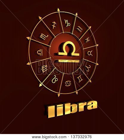 Scales astrology sign. Golden astrological symbol. 3D rendering. Gold insignia