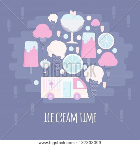 Ice cream bar in flat style. Ice cream van in flat style. Vector illustration in circle shape