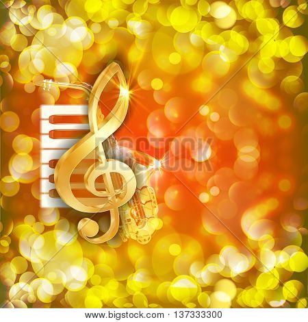 Vector illustration of musical background treble clef, piano keys and sax on a bright background with flares and sparks.