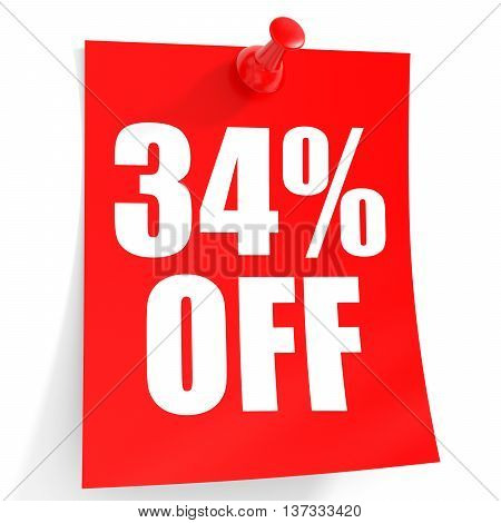 Discount 34 Percent Off. 3D Illustration On White Background.