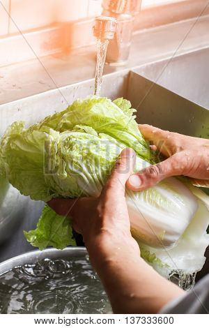 Man's hands wash chinese cabbage. Water flowing on chinese cabbage. Taste the vitamins. Kitchen in vegetarian cafe.