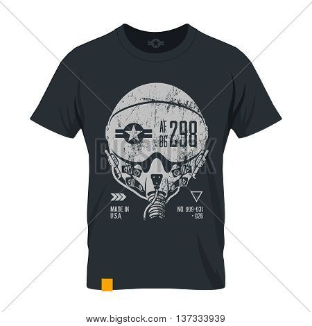 Modern american air force grunge effect tee print vector design.