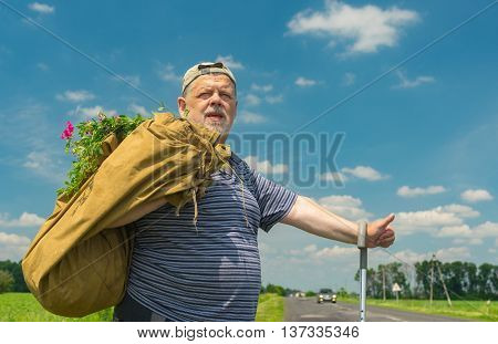 Senior man with sack and bunch of wild flowers standing on a roadside and showing sign of hitchhiker