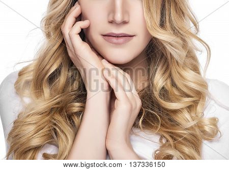 Part of face. Beautiful woman with long blond hairs. Woman model isolated on white background.
