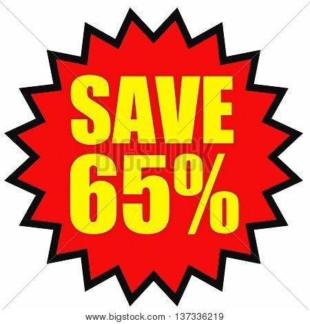Discount 65 Percent Off. 3D Illustration On White Background.