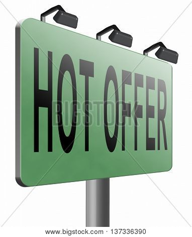 hot offer for online internet web shop concept. Webshop shopping sales sign announcing bargain for low and best price with the best value for you money, 3D illustration, isolated, on white