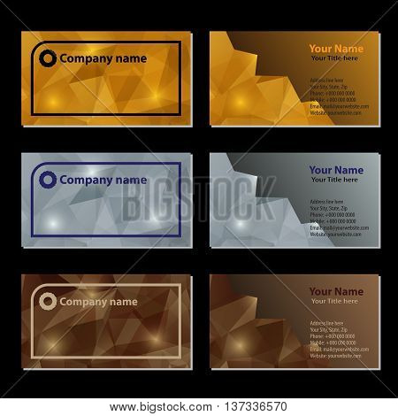 Set of business cards cards with gold, silver and bronze geometric polygonal background.