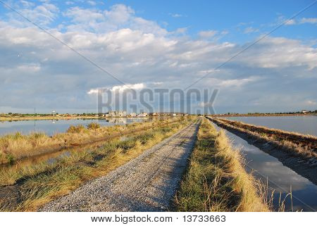 Country Road And Scenic Saltern