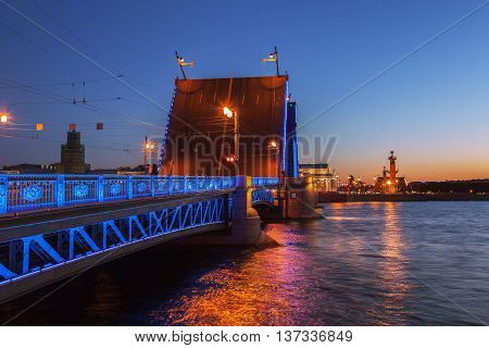 Opened the Palace bridge (drawbridge) White Nights in St. Petersburg view of the Spit of Vasilyevsky Island